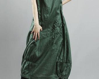 avant-garde 100% natural linen flower applique Langenlook Sun Dress -Green