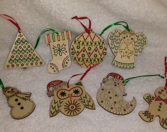 Set of 8 Hand-Embroidered Wood Laser Cut Christmas Ornaments