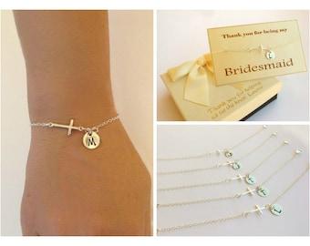 Free Shipping. Set of 5 Personalized sterling silver sideways cross bracelets. bridesmaids  Sterling silver Jewelry, , monogram bracelet