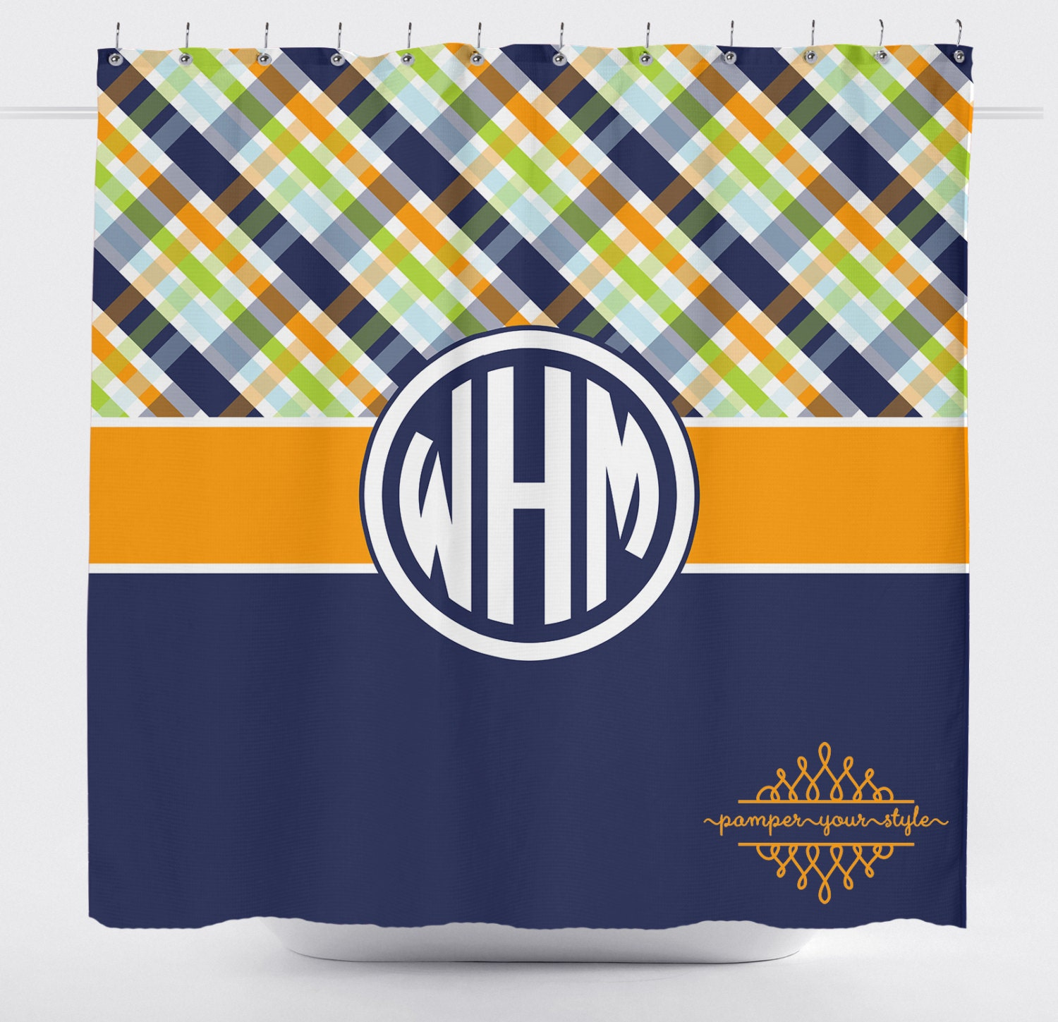 Plaid Shower Curtain Navy Green And Orange Bathroom Boys