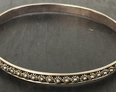 Vintage sterling silver floral embossed Mexican silver bangle c. 1960