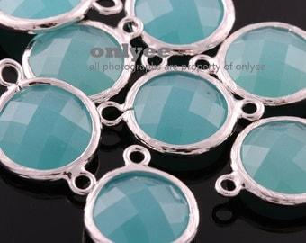 6pcs-12mmX12mm Rhodium Faceted Round shape Glass connectors(parallel)-Mint(M351S-F)