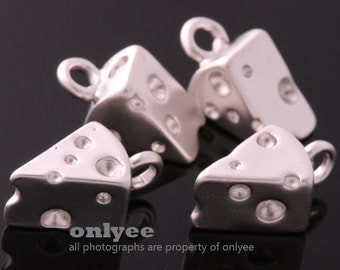 2Pcs-11mmX6mmX5mmMatt Silver Plated over Brass Mini Cheese Charms Pendant(K734S)