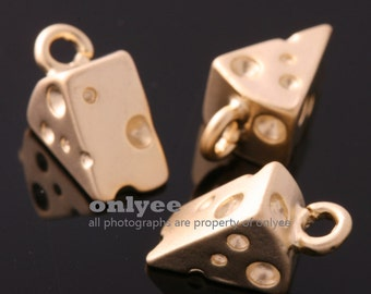 2Pcs-11mmX6mmX5mmMatt Gold Plated over Brass Mini Cheese Charms Pendant(K734G)