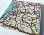 1967 Angola Map Handmade Vintage Map Coaster - Ceramic Tile Coaster - Repurposed 1960s Hammond Atlas - OOAK Drink Coasters