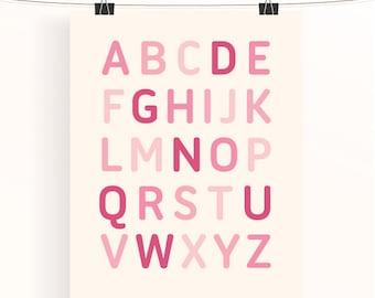 Alphabet poster - baby girl nursery print - pink nursery art - typography poster - kids wall art - baby shower gift