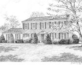 Custom Home Portrait-99 & up 5x7 Graphite Pencil Original Your My Home Sketch Drawing Christmas Birthday First Home Anniv Wedd Closing Gifts
