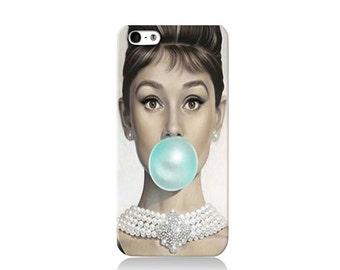 Audrey Hepburn Bubble Gum Cover iPhone case, iPhone 6 case, iPhone 4 case iPhone 4s case, iPhone 5 case 5s case and 5c case
