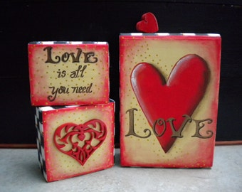 Whimsical Wooden Blocks, Love, Hearts, Valentines Day Decor, Valentine Blocks, Scrollsaw Heart, Sign, Hearts, Beth Baker Artist