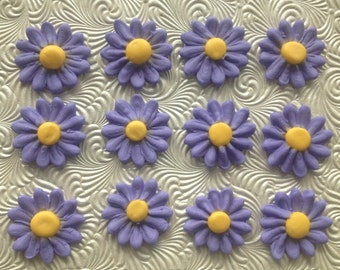 Purple Royal Icing Daisies (15) Cake Decorations
