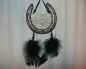 Horseshoe Dream Catcher with Black Feathers
