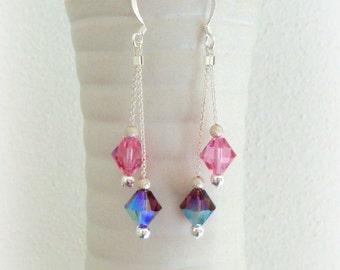 Pink and Amethyst Swarovski Crystal Earrings - Dangle Crystal Earrings - Handmade Earrings in Silver