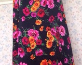 Kitsch Black Pink Orange Bright Floral Vtg 70s Maxi Floor Length Bohemian Festival Skirt