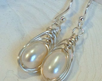 Pearl Dangle Earrings, Silver Wrapped, Sterling Herringbone Wire Wrap, Handcrafted Bridal Wedding Jewlery