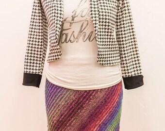 Hand knitted women wool skirt.Wool multicolor winter skirt.