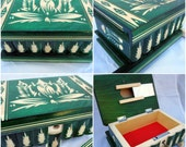 Green Original Transylvanian Jewelry Puzzle Box with Secret Compartment Lock and Mirror