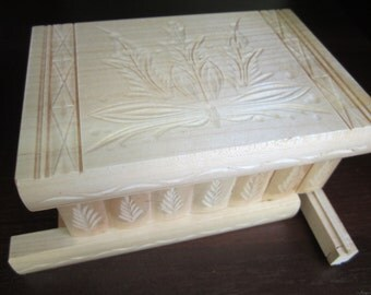 Hungarian Wooden Puzzle Box with Secret Compartment Lock Key and Mirror White
