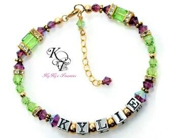 Gold Birthstone Bracelet, Personalized Mothers Bracelet,  Gold Mothers Bracelet, Mothers Jewelry, Birthstone Bracelets, Personalized Jewelry