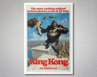 King Kong  Movie Poster - Poster Paper, Sticker or Canvas Print / Gift Idea