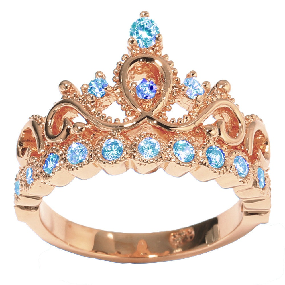 14K Rose Gold Princess Crown With Birthstone Rings