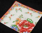 Vintage Handkerchief, Rust and Red Collectible Hankie - Craft, Framing,  or Sewing Hankie Lot Q-4