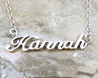 Sterling Silver Name Necklace -Hannah - on Sterling Silver Rolo Chain in Length of Choice -3173