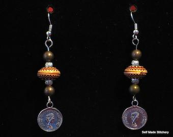 Earthy coin earrings