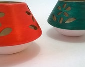 Ceramic Candle holders - hand painted