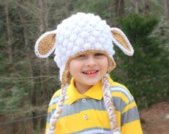 Crochet lamb hat.Size:4-6y.old. Ready to ship
