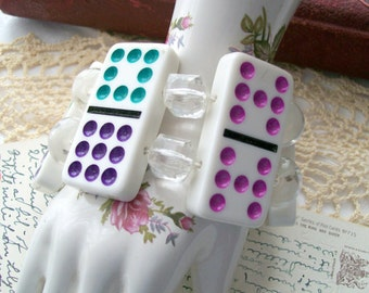 Vintage Domino Bracelet  - Recycled - Lucite Beads - Game Piece