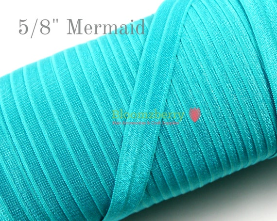 "5/8"" Fold Over Elastic - Mermaid /Dark Teal Color - Plain Elastic Fold Over - Dark Teak Elastic Fold over -Hair Accessories SupplieO"