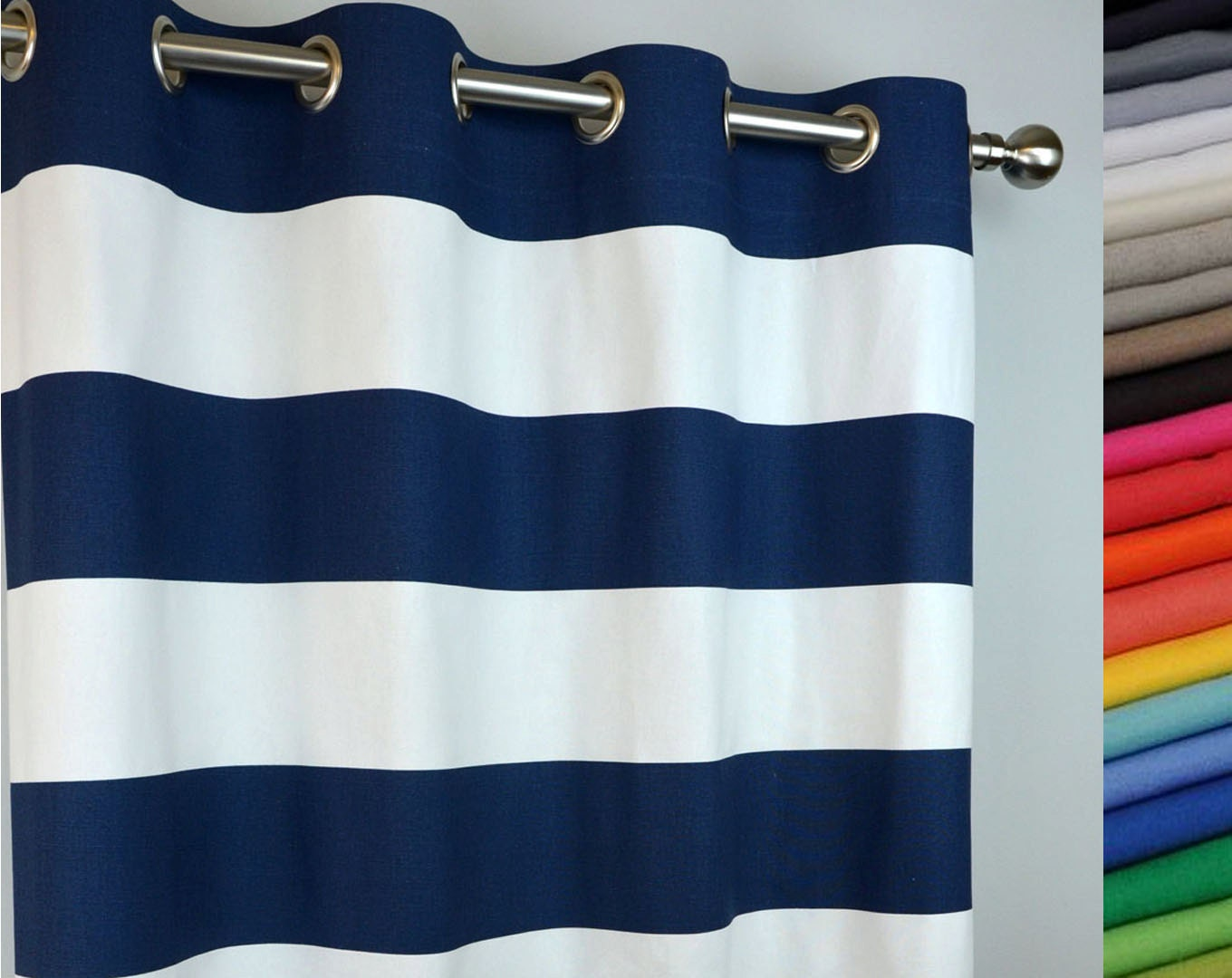 Grommet Curtain In Navy Blue And White Cabana By Zeldabelle