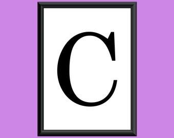 Typography DIGITAL PRINT Monogram Initial Wall Art Century Letter C 5x7
