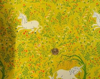 VHTF Heather Ross Far Far Away  Unicorn on Green - FQ 18 inches x 22 inches
