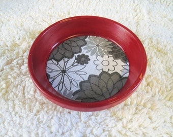 Red Floral Print Hand Painted Terra Cotta 5 inch Coaster Dish Home Decor