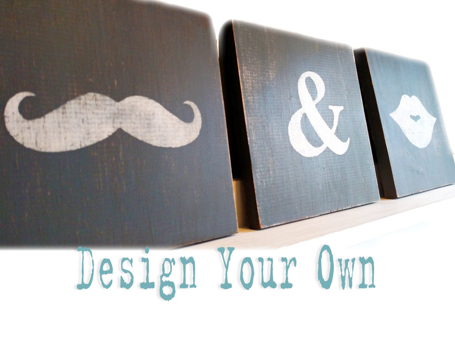 Design Your Own Lips And Mustache Distressed Wood Signs His
