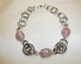 Silver Chain Maille Bracelet with 2 Silver Rosettes and 3 Pink Glass Beads