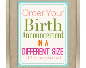 birth announcement wall art - custom size