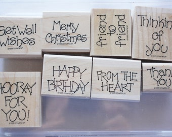 Dot Greetings Set of Eight Rubber Stamps Stampin Up 1995