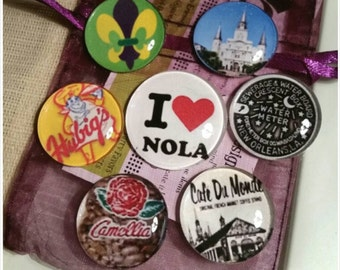 I LOVE NOLA Magnet set, New Orleans Magnet Set, Set of 7 Magnets, Party Favor, wedding favors , NOLA Love Magnets, Mardi Gras, kitchen decor