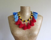 Tribal tassel necklace, handmade yarn necklace in red, blue, yellow and navy. One of a kind, upcycled recycled repurposed, statement bib.