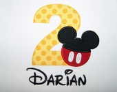 Personalized Mickey Mouse Birthday Shirt, 1st, 2nd- Applique, Customized, Embroidered, Name, Disney, Yellow Polka Dot