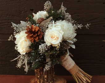 Rustic Winter White Wedding Bouquet, Winter Wedding Bouquet, Winter Brides Bouquet, Woodland Pinecone, Rose and Hydrangea Bridal Bouquet