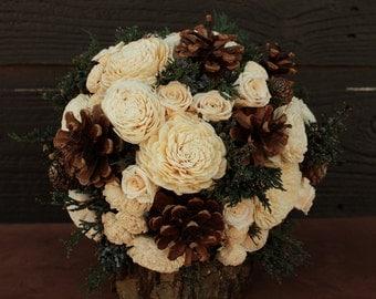 Rustic Winter Rose Wedding Bouquet, Winter Wedding Bouquet, Winter Bouquet, Pinecone Bouquet, Winter Rose Bride Bouquet, Woodland, Pine Cone