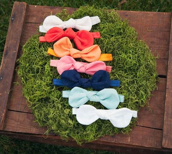 Ema Jane Fabric Bow Knots on Iridescent Headbands Set (7 Bow Knot headbands)