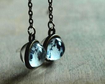 Moon earrings Long dangle full moon earrings Solar system Glass dome earrings Planet  Space Galaxy earrings brass earrings long earrings