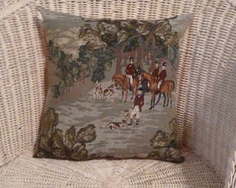 """Equestrian 14"""" x 14""""  Horse Hunting Pillow High quality and deep Peach back ...hand made ...one only..TAPESTRY"""