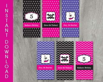 Girl Pirate Party Mini Hershey Bar Candy Wrapper, INSTANT DOWNLOAD, Self Editable, Favor Label, Printable, Personalize, Digital Pdf File