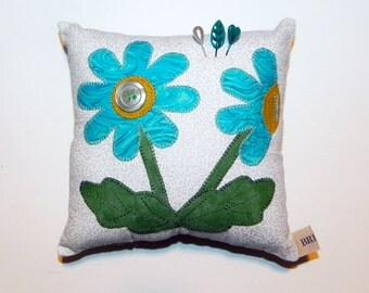 Floral Appliqué Pincushion Pillow