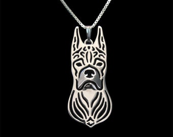 Boxer (cropped ears) jewelry - sterling silver pendant and necklace.